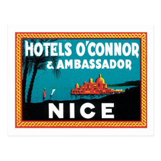 Vintage Travel Nice France Hotel Label Art Postcard