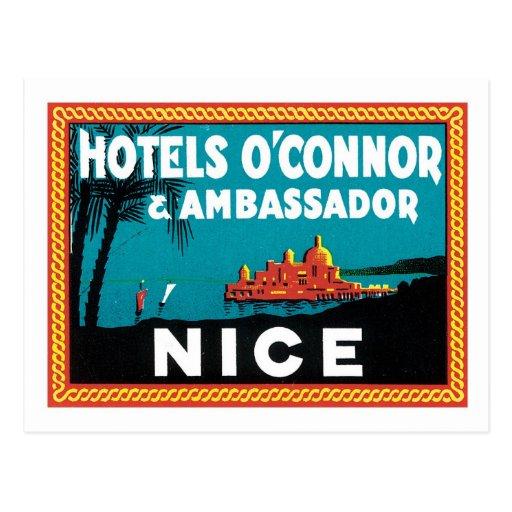 Vintage Travel Nice France Hotel Label Art Post Card