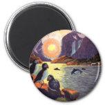 Vintage Travel, Norway Fjord Land of Midnight Sun 6 Cm Round Magnet