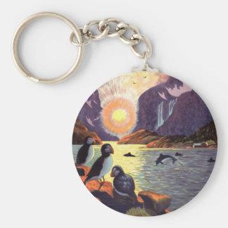Vintage Travel, Norway Fjord Land of Midnight Sun Basic Round Button Key Ring