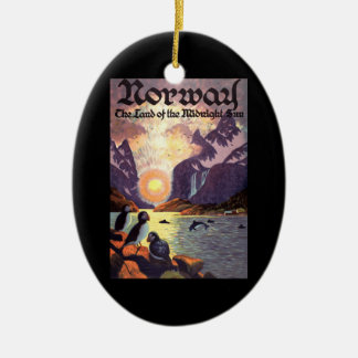 Vintage Travel, Norway Fjord Land of Midnight Sun Christmas Ornament