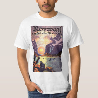 Vintage Travel, Norway Fjord Land of Midnight Sun T-Shirt