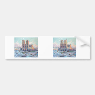 Vintage Travel Notre Dame de Paris Bumper Sticker