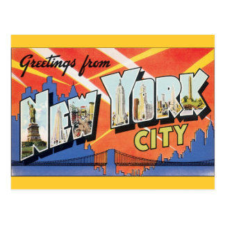 Vintage Travel NYC, Greetings from New York City Postcard