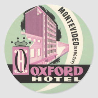 Vintage Travel, Oxford Hotel, Montevideo, Uruguay Classic Round Sticker