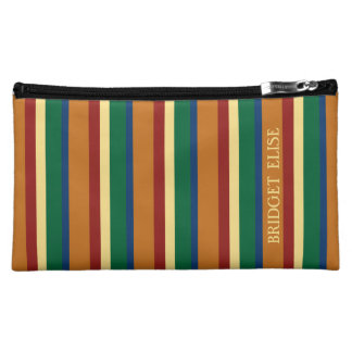 Vintage Travel Palette Stripe Personalized Cosmetic Bag