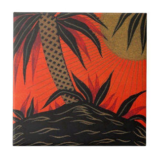 Vintage Travel Palm Tree South Sea Tropical Tile