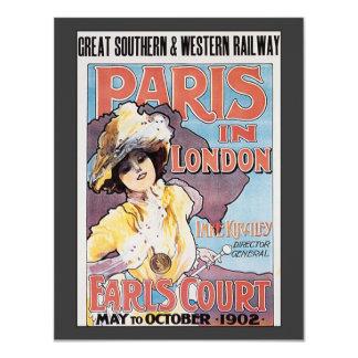 Vintage Travel, Paris in London Railroad Woman 11 Cm X 14 Cm Invitation Card