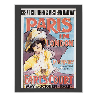 Vintage Travel, Paris in London Railroad Woman Card