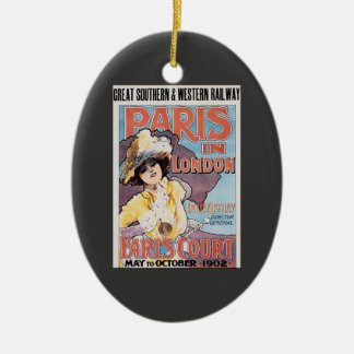 Vintage Travel, Paris in London Railroad Woman Ceramic Oval Decoration
