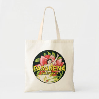 Vintage Travel, Pasadena California, Lady and Rose Budget Tote Bag