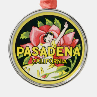 Vintage Travel, Pasadena California, Lady and Rose Christmas Ornament