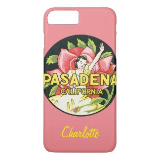 Vintage Travel, Pasadena California, Lady and Rose iPhone 7 Plus Case