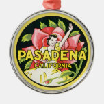 Vintage Travel, Pasadena California, Lady and Rose Silver-Colored Round Decoration