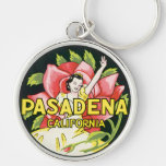 Vintage Travel, Pasadena California, Lady and Rose Silver-Colored Round Key Ring