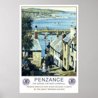 Vintage travel,Penzance,Cornwall Poster