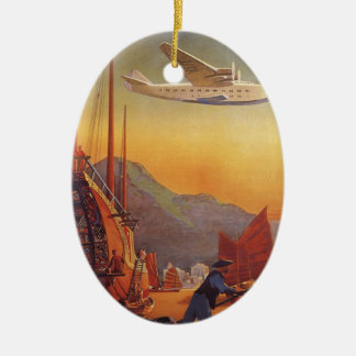 Vintage Travel, Plane Over Junks in Hong Kong Ceramic Oval Decoration