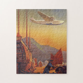 Vintage Travel, Plane Over Junks in Hong Kong Jigsaw Puzzle