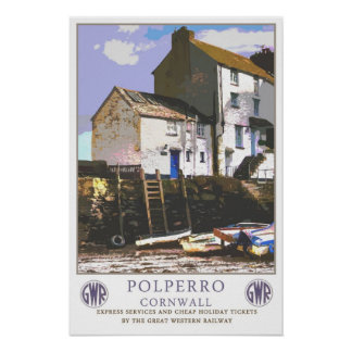 Vintage travel,Polperro. Poster