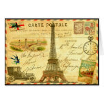 Vintage travel postcard Paris Eiffel Tower Card