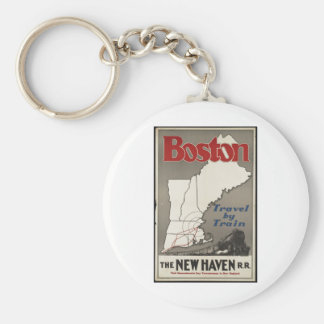 Vintage Travel Poster Ad Retro Prints Basic Round Button Key Ring