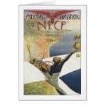 Vintage Travel Poster, Aeroplane over Nice France Note Card