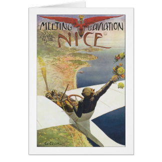 Vintage Travel Poster, Airplane over Nice France Note Card