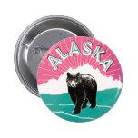 Vintage Travel Poster, Alaska Black Bear in Snow 6 Cm Round Badge