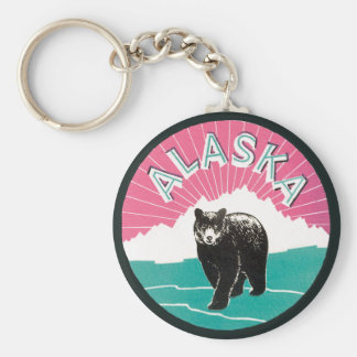 Vintage Travel Poster, Alaska Black Bear in Snow Basic Round Button Key Ring