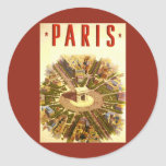 Vintage Travel Poster Arc de Triomphe Paris France Round Sticker