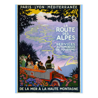 Vintage Travel Poster Art  - La Route des Alpes Postcard