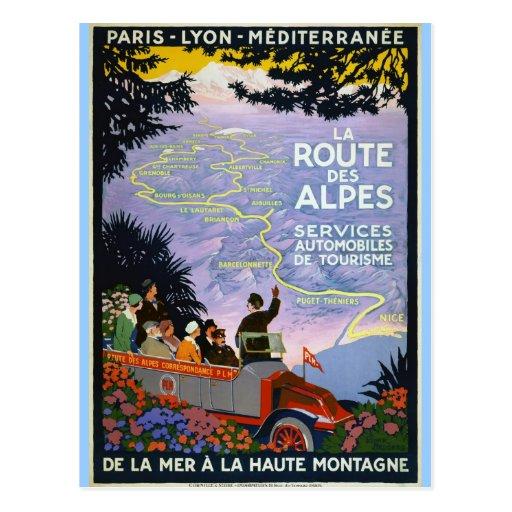 Vintage Travel Poster Art  - La Route des Alpes Postcard