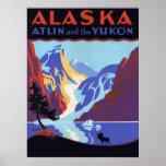 Vintage Travel Poster, Atlin and the Yukon, Alaska