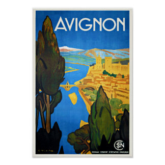 Vintage Travel Poster Avignon France Poster