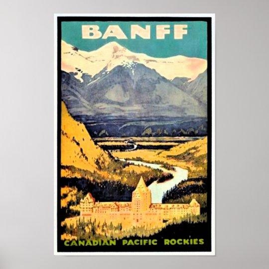Vintage Travel Poster Banff Canadian Rockies