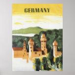 Vintage Travel Poster, Bavaria Castle, Germany