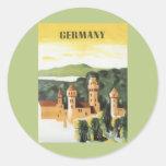 Vintage Travel Poster, Bavaria Castle, Germany Round Stickers
