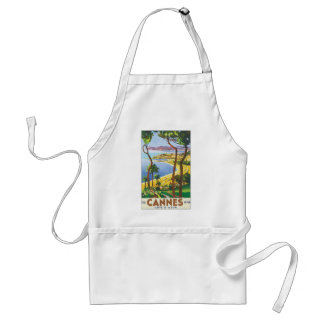 Vintage Travel Poster, Beach in Cannes, France Standard Apron