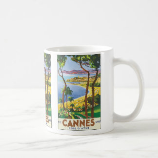 Vintage Travel Poster, Beach in Cannes, France Coffee Mug