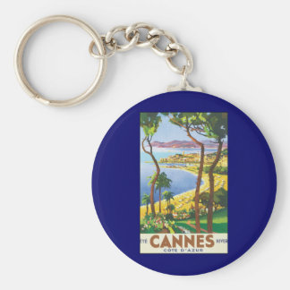Vintage Travel Poster, Beach in Cannes, France Key Ring
