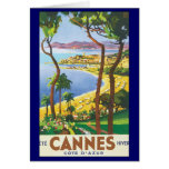 Vintage Travel Poster, Beach in Cannes, France Note Card
