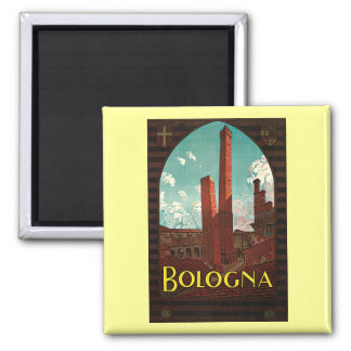 Vintage Travel Poster, Bologna, Italy Square Magnet