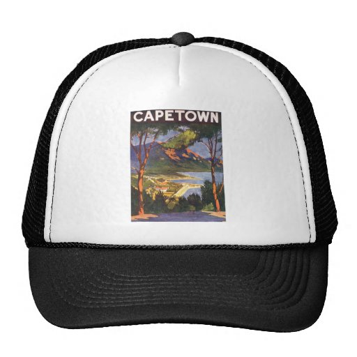 Vintage Travel Poster, Cape Town, South Africa Mesh Hat