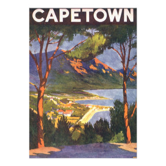 Vintage Travel Poster Cape Town South Africa Custom Announcement