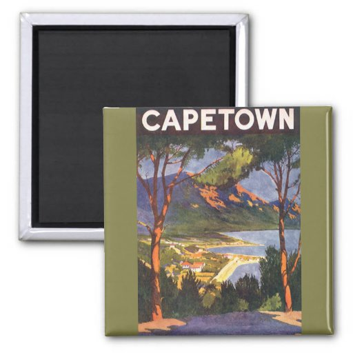 Vintage Travel Poster, Cape Town, South Africa Square Magnet