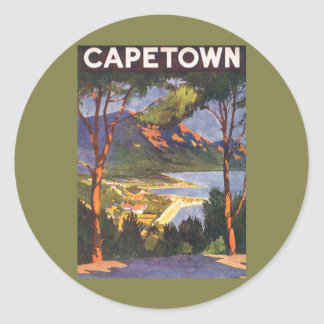 Vintage Travel Poster, Cape Town, South Africa Round Sticker