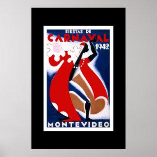Vintage Travel Poster Carnaval Uruguay
