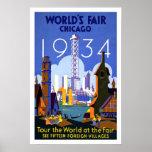 Vintage Travel Poster Chicago World's Fair 1934