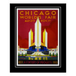 Vintage Travel Poster Chicago World's Fair Large