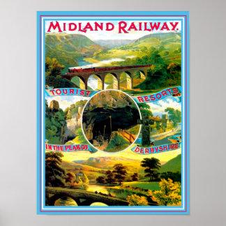 Vintage Travel Poster Derbyshire England